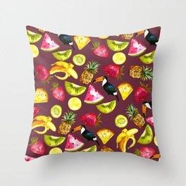 Burgundy yellow pink watercolor tropical bird fruit Throw Pillow