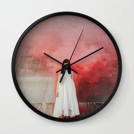 Red smoke Wall Clock