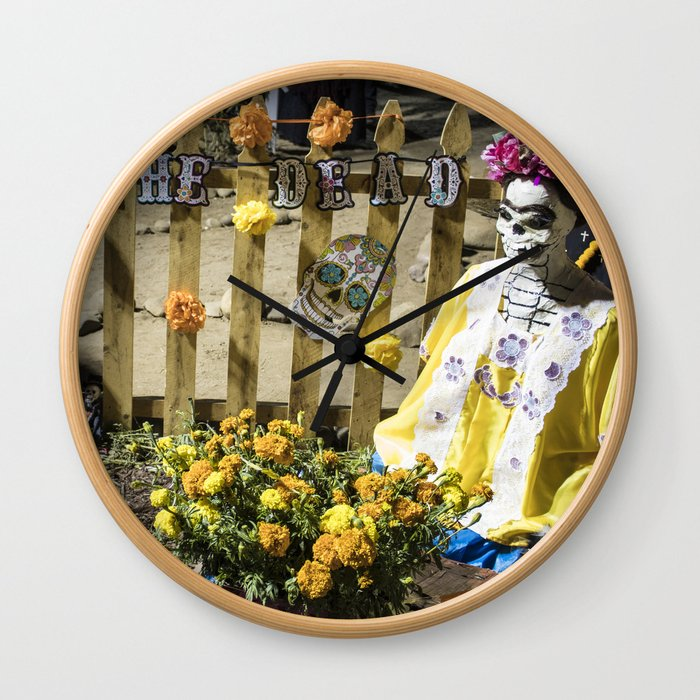 Day of the Dead Cemetery Altar with Marigolds and Frida Kahlo Skeleton Lady Wall Clock