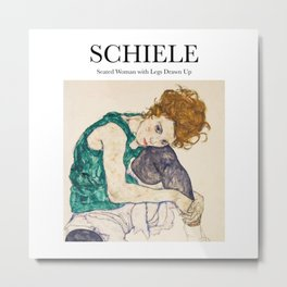 Schiele - Seated Woman with Legs Drawn Up Metal Print