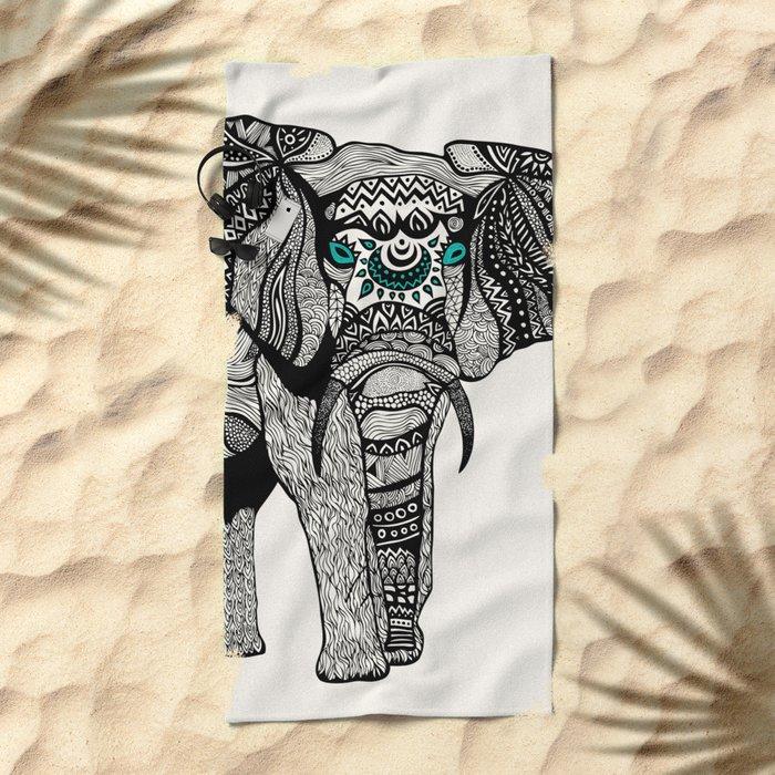 Tribal Elephant Black and White Version Beach Towel