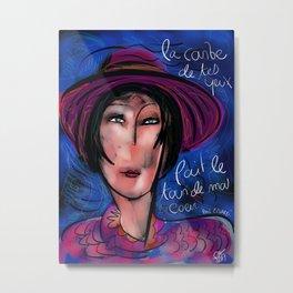 La courbe de tes yeux portrait painting retro Metal Print