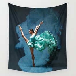 -O1- Blue Ballet Dancer Deep Feelings. Wall Tapestry