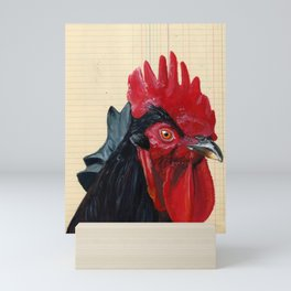 Rooster in Gouache Mini Art Print