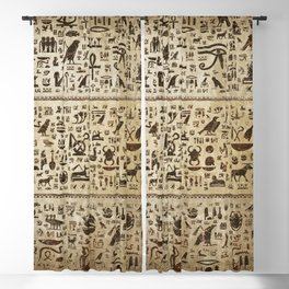 Ancient Egyptian hieroglyphs - Vintage and gold Blackout Curtain