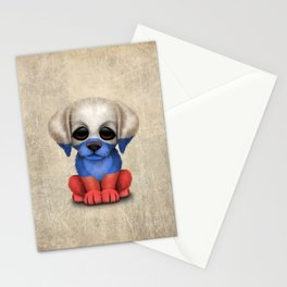 Cute Puppy Dog with flag of Russia Stationery Cards