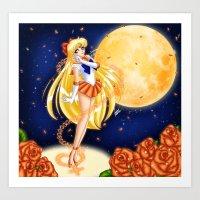 sailor venus Art Prints featuring Sailor Venus by HaruShadows
