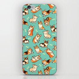 Jolly corgis in green iPhone Skin