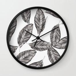 I leaf for Magnolia-Black Wall Clock