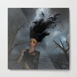 Wonderful fantasy girl with crow in the hair Metal Print