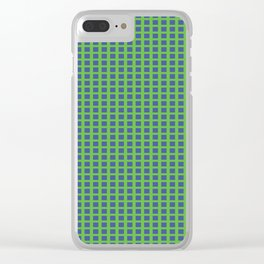 Blue Squares Clear iPhone Case
