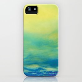 YELLOW & BLUE TOUCHING #1 #abstract #art #society6 iPhone Case