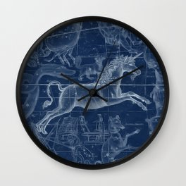 Unicorn stars sky map Wall Clock