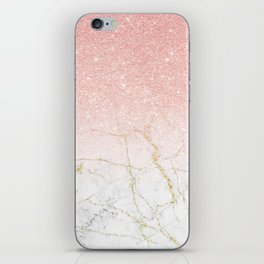 Rose Gold Glitter and gold white Marble iPhone Skin