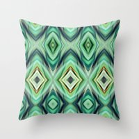 green pattern Throw Pillows featuring Pattern green  by Christine baessler