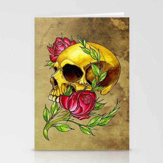 trad skull w rose Stationery Cards