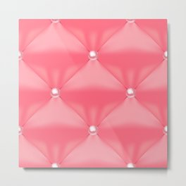 Abstract Quilted Pink Pearl Pattern Metal Print