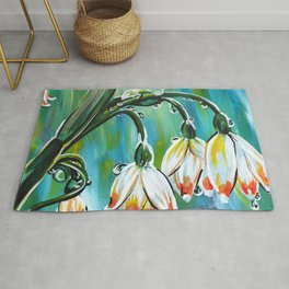 Drips on droopy flowers Rug