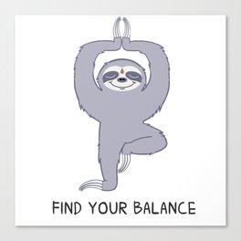 Happy Yogi Sloth - Find your balance Canvas Print