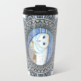 Winter Barn Owl Mandala Travel Mug