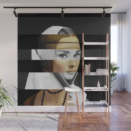 Leonardo da Vinci's Lady with a Ermine & Audrey Hepburn Wall Mural