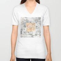 white marble V-neck T-shirts featuring Marble by Marta Olga Klara