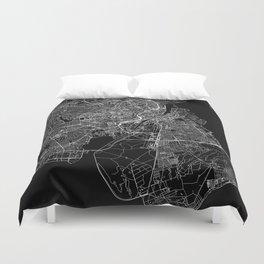 Copenhagen Black Map Duvet Cover