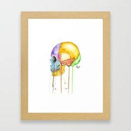 Colorful Human Skull Framed Art Print