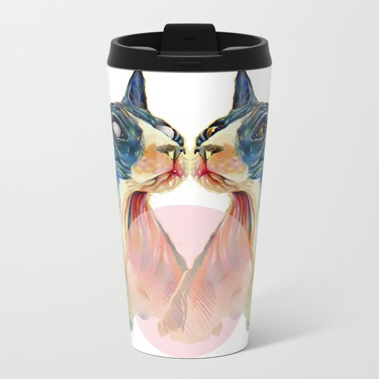 white cats Metal Travel Mug