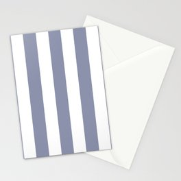 Gray-blue grey - solid color - white vertical lines pattern Stationery Cards