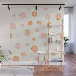 Sweet pink and orange flowers over beige Wall Mural