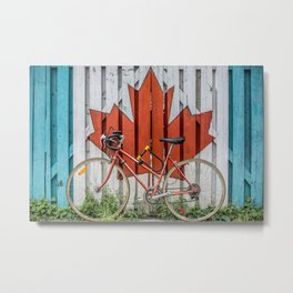 A Fence with the Canadian Maple Leaf and a Bicycle Metal Print