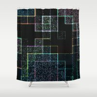 tetris Shower Curtains featuring Tetris by Audrey Erickson