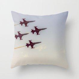 Turkish acrobatic aviation squadron flying over Izmir (Turkey) Throw Pillow
