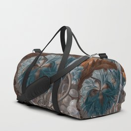 """""""Baroque flora in sienna and cyan"""" Duffle Bag"""