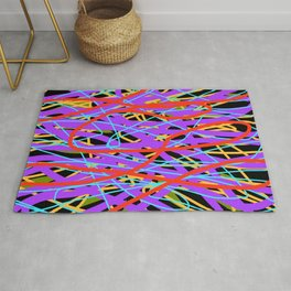 Layered Bright Swirling Abstract Rug