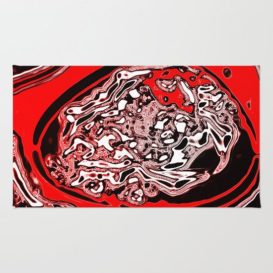 Red Black White Abstract Rug By Awesome Palette