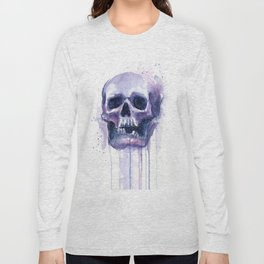 Skull in Watercolor Galaxy Space Long Sleeve T-shirt