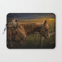 Saddle Horse on the Prairie Laptop Sleeve