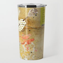 Neutral & Green Abstract Art Collage Travel Mug