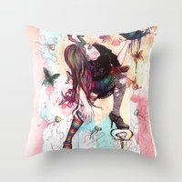 sandman Throw Pillows featuring Delirium, The Sandman by Anguiano Art