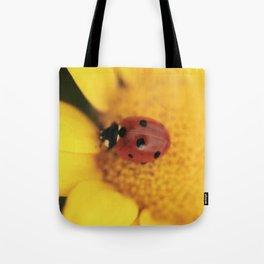 Ladybug on yellow flower - macro still life - fine art photo for interior design Tote Bag
