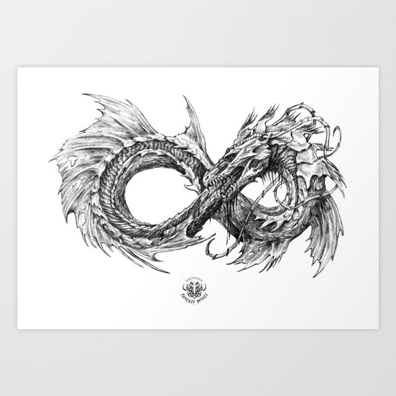 Ouroboros mythical snake on transparent background pencil art black and white art print