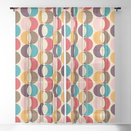 Mid Century Modern Circles Sheer Curtain