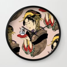 Tea time with Frenchie Wall Clock