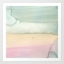 Hand painted pink ivory green watercolor paint Art Print