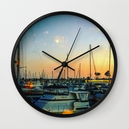 Boats at Sunset -Ava Photography Wall Clock