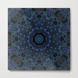 Blue and Black Fractal Kaleidoscope Metal Print