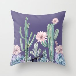 Desert Cactus Succulents + Gemstones on Deep Purple Throw Pillow