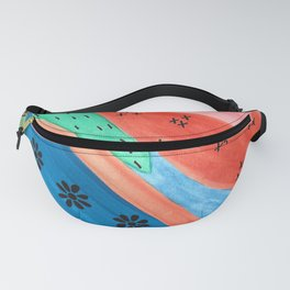 Mixed Media Groovy Multicolor Watercolor and Sharpie Pen Design Fanny Pack